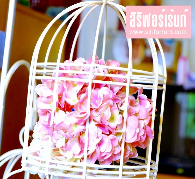 เช่าชุดกรงนกเหล็กดัดสีขาว ให้เช่าชุดกรงนกเหล็กดัด สำหรับประดับตกแต่งดอกไม้