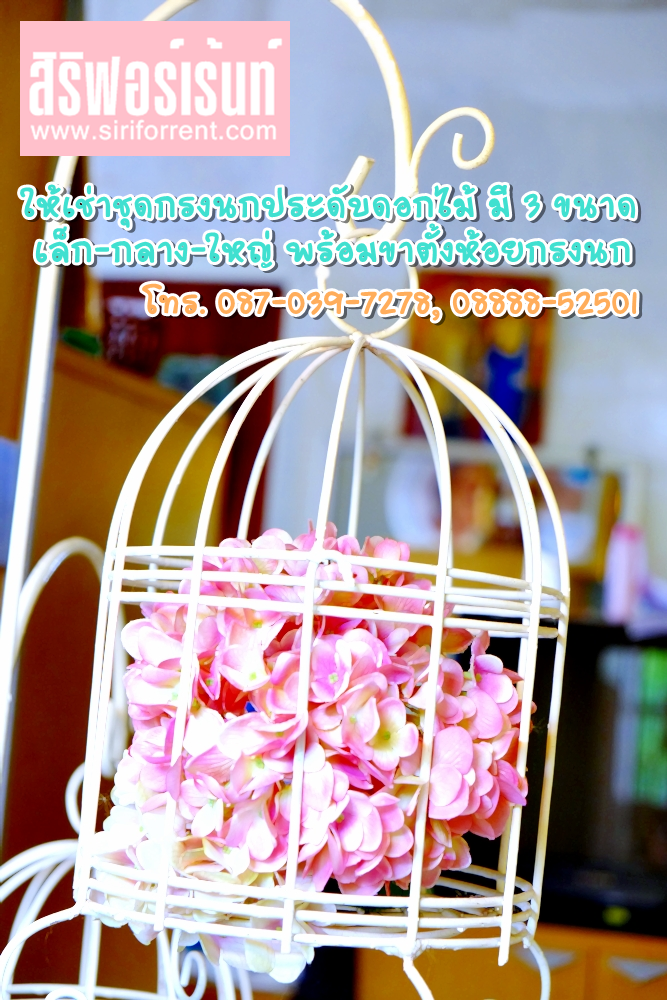 เช่าชุดกรงนกสำหรับจัดดอกไม้ ประดับตกแต่งดอกไม้